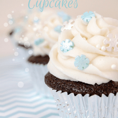 Snowflake cupcakes -- chocolate cupcakes with vanilla buttercream frosting