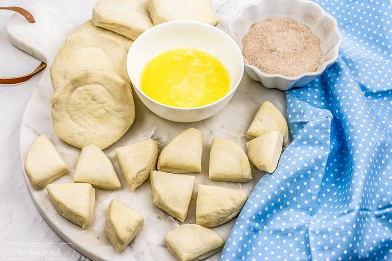 Canned biscuit dough for with butter and cinnamon