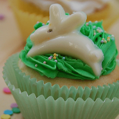 Easter Cupcakes With Chocolate Candies and Marshmallow Filling