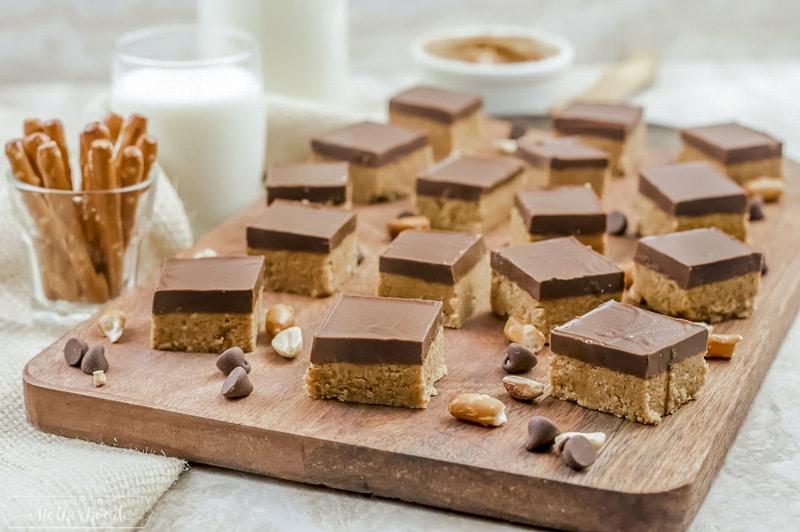 chocolate no bake bars on cutting board