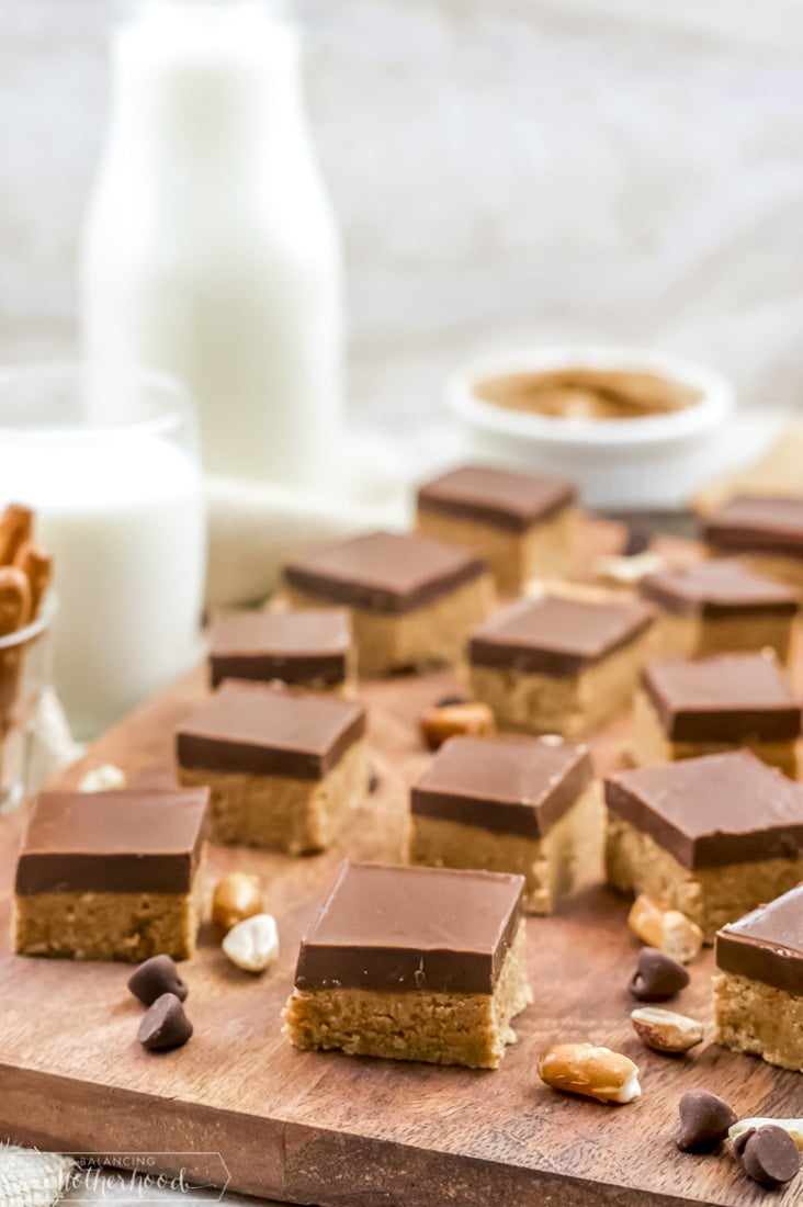 Snack on these super easy to prepare no bake peanut butter bars!