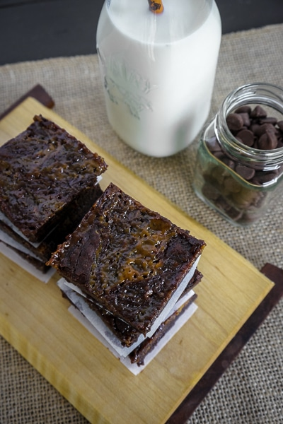 Salted caramel brownies are rich and decadent