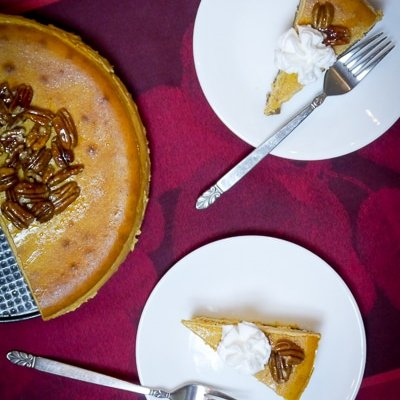 Pumpkin Cheesecake with Candied Pecans