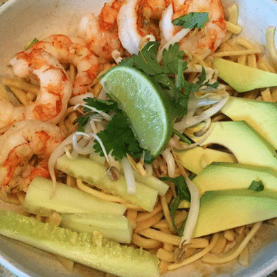 15-Minute Asian Noodle Bowl with Grilled Shrimp Recipe