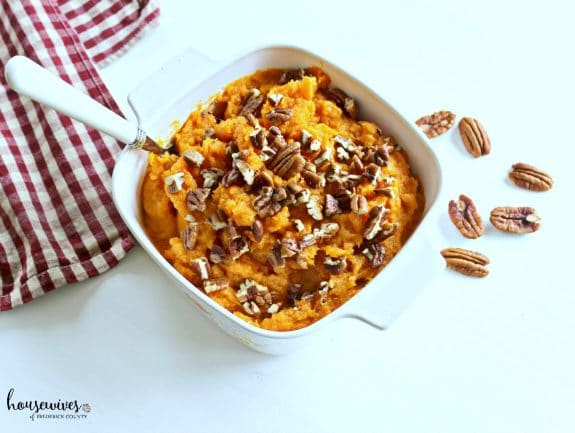 bowl of mashed sweet potatoes