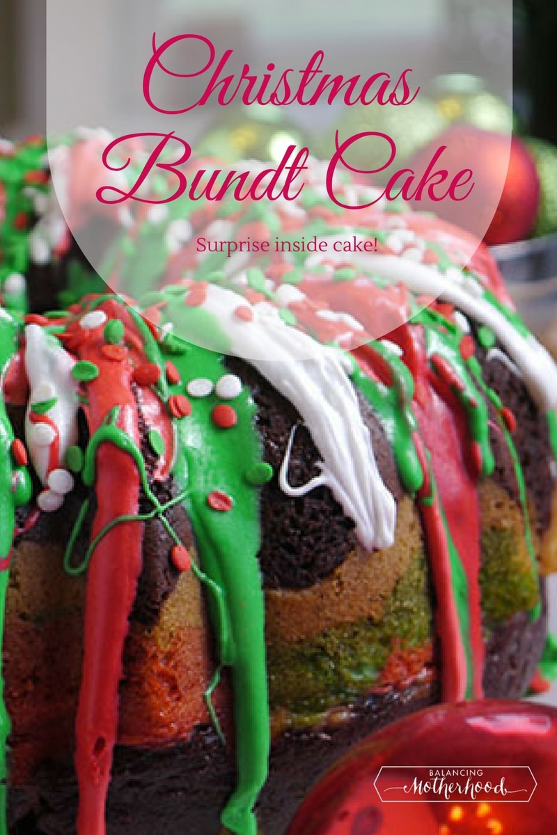 Christmas Bundt Cake with a surprise inside! This cake is a winner and so easy to make!!