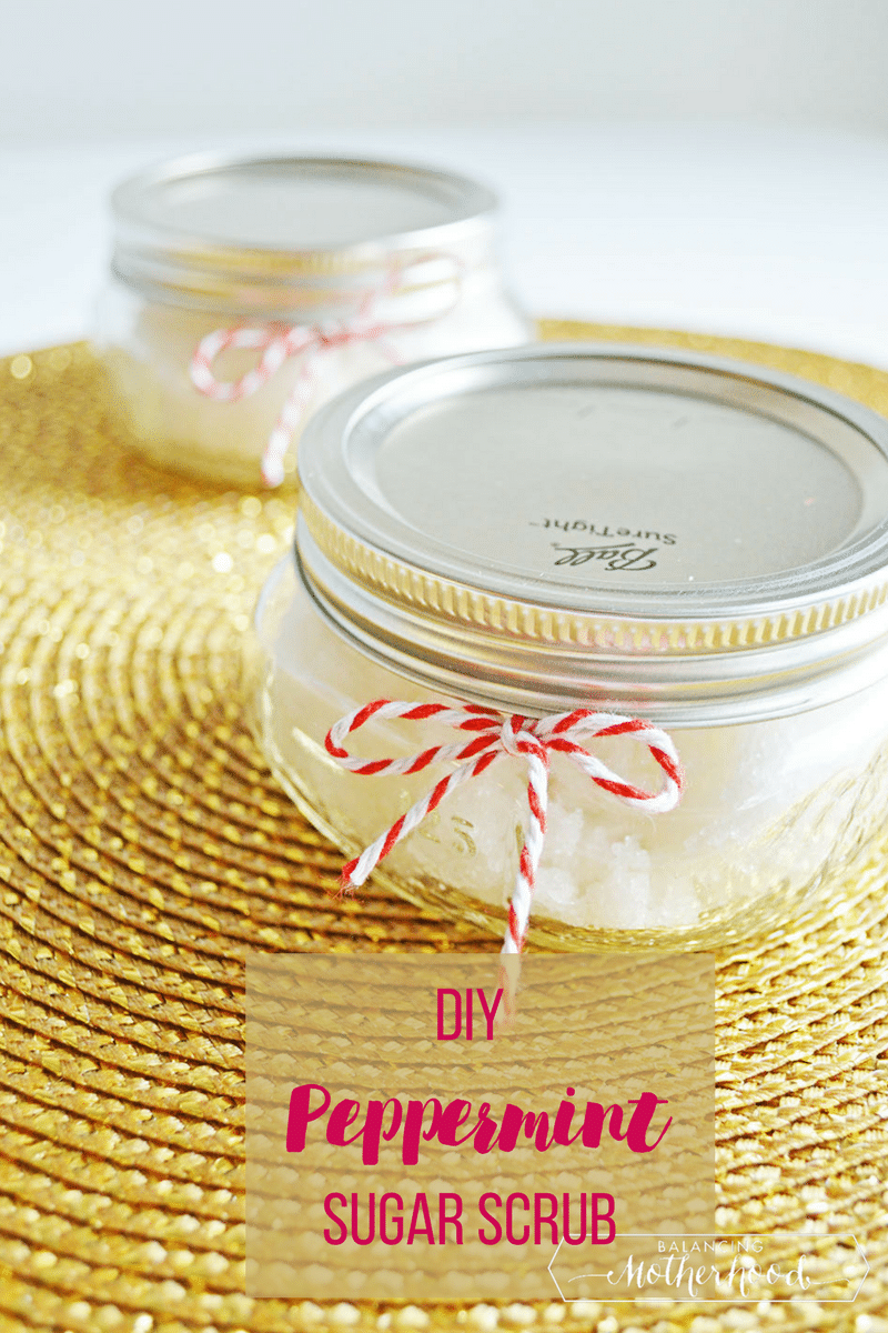 Easy to make peppermint sugar scrub. Makes great Christmas gifts!