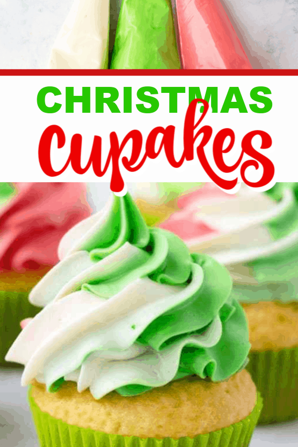 Learn how to make these simple Christmas cupcakes. Just a few ingredients and supplies and you can make these swirl cupcakes!