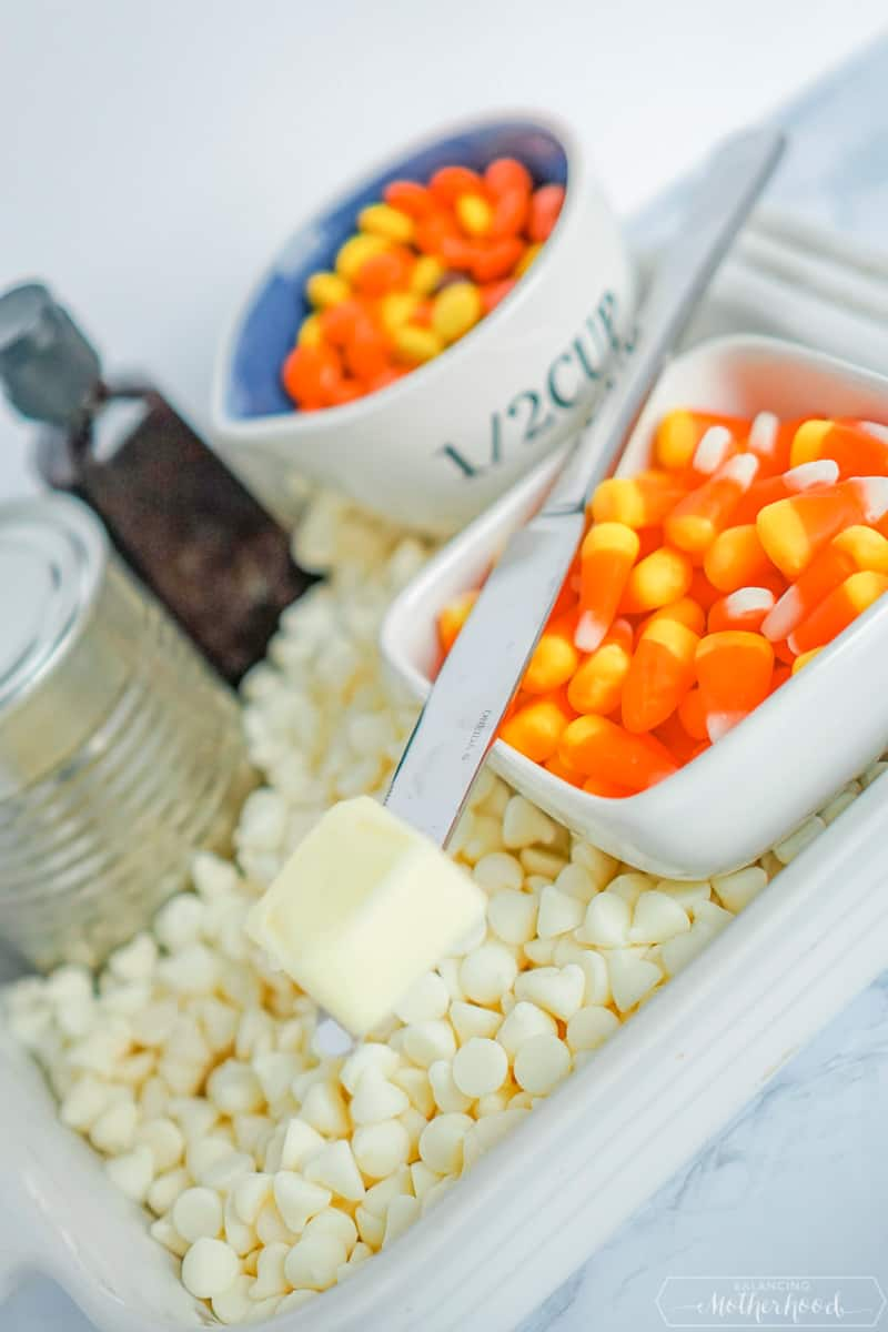 Ingredients for candy corn fudge