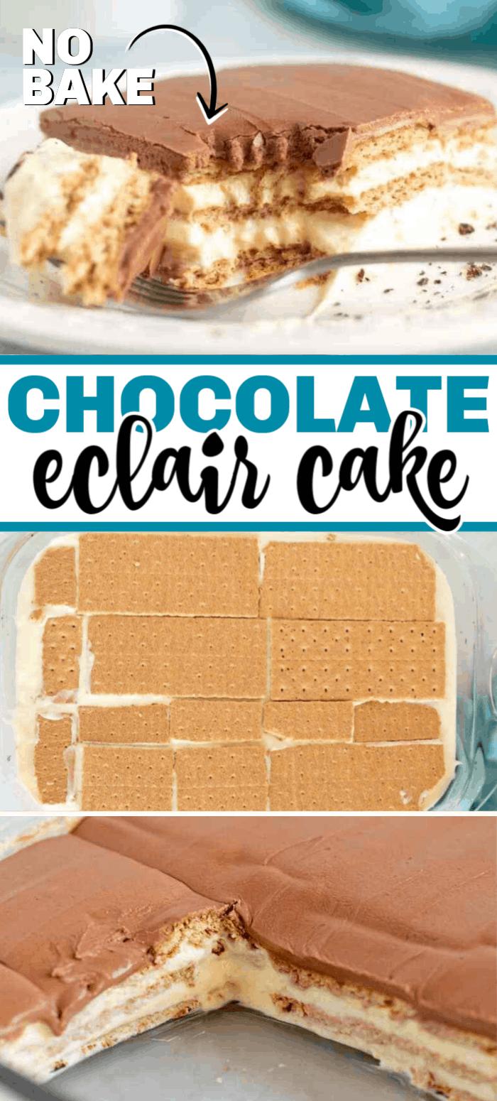 The best chocolate eclair cake recipe. It's no bake and super easy! #nobake #chocolatecake #eclaircake #frenchvanillapudding #grahamcrackers #eclaircakewithgrahamcrackers #dessert #easydessert