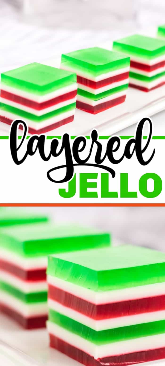 Christmas layered jello with red, white, and green layers. This finger jello is a hit at parties and kids love it! Plus we've perfected the chill time so this dessert is ready must faster than traditional layered jello recipes.