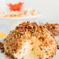 pineapple cheeseball with chopped pecans
