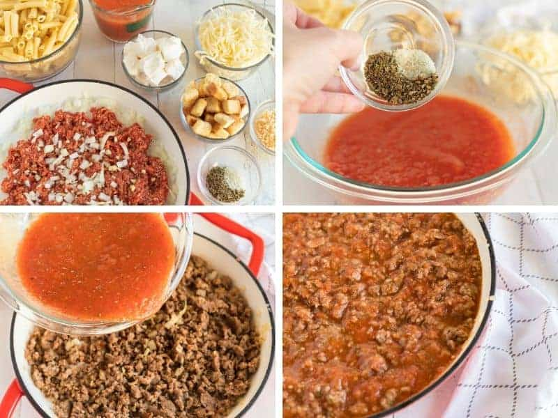 four photos of baked ziti ingredients including sauce, seasonings, and meat