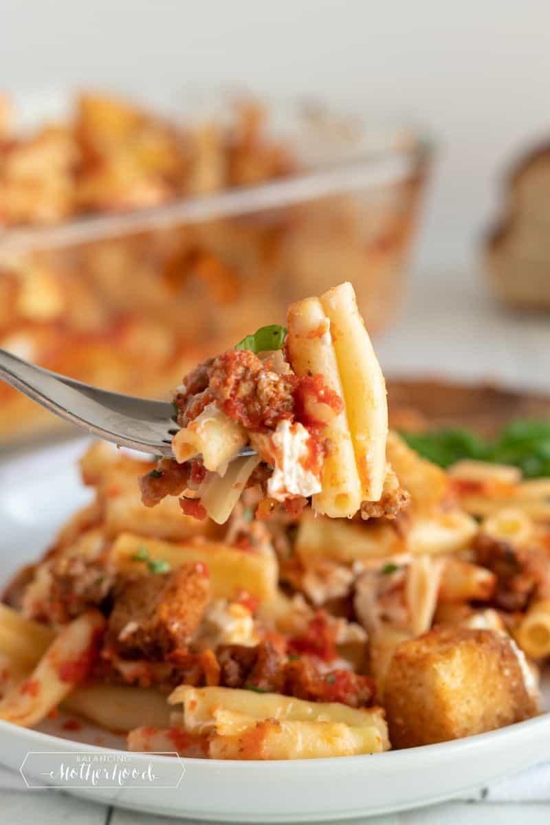 baked ziti pasta in bowl