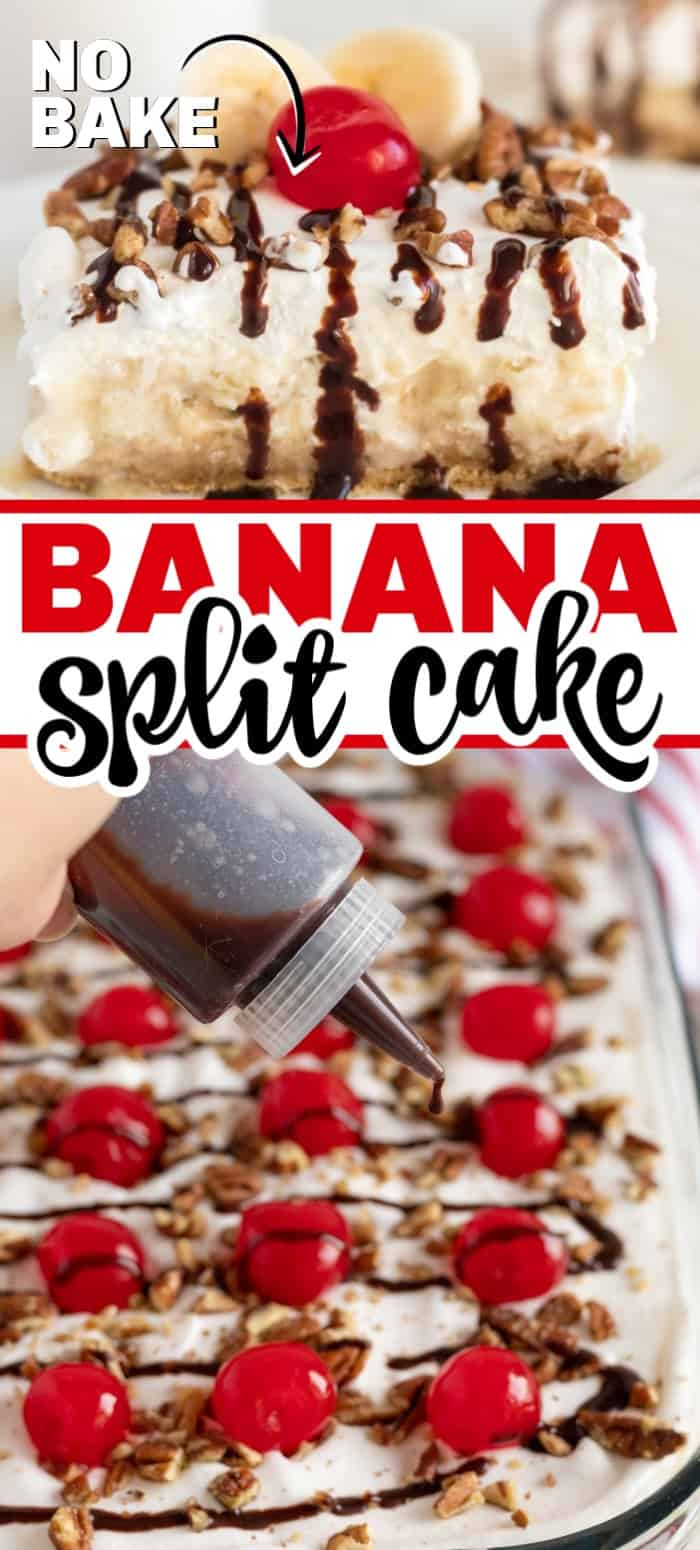 No bake banana split cake is so easy to make as it combines graham crackers, a creamy filling along with bananas, pineapple, whipped cream, nuts, and of course the cherry on top. It's the perfect dessert for any gathering, celebration, or just because you feel like having dessert any day of the week. #bananasplitcake #nobakedessert #nobake #bananadessert #dessertrecipe #easydessert #onepandessert