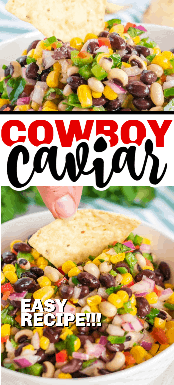 This Cowboy Caviar recipe is colorful, bursting with flavor, and makes a perfect salsa for your upcoming party. It's full of sweet corn, beans, peppers, and topped with a delicious oil vinaigrette.