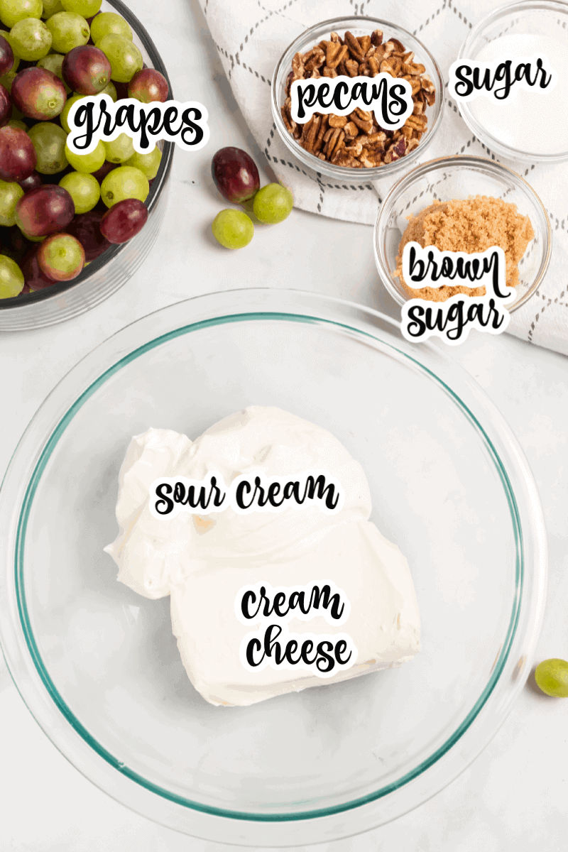 grapes, pecans, sugar, brown sugar, sour cream, and cream cheese ingredients