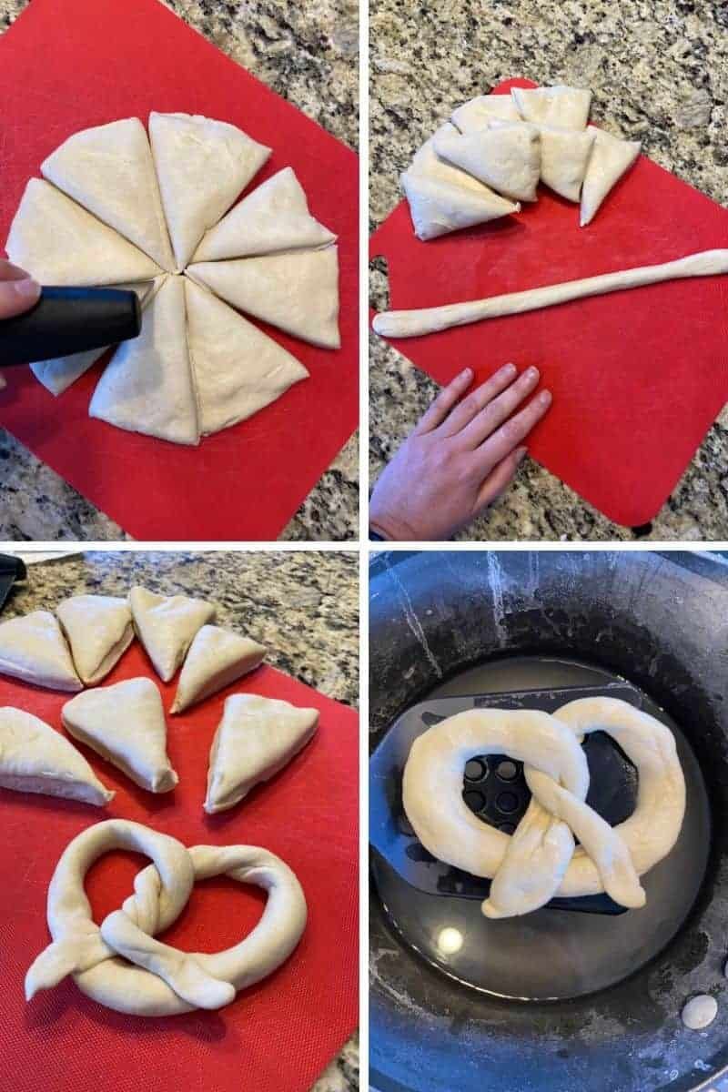 cutting pretzel dough into eight pieces and shaping into a pretzel