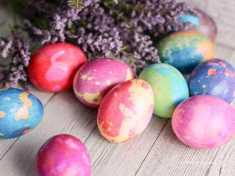 colorful marble Easter eggs