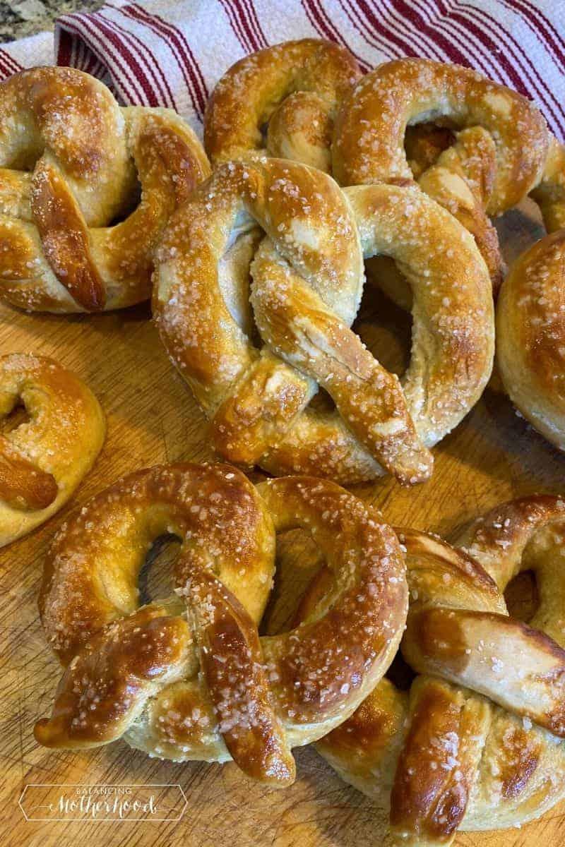 soft pretzels on cutting board