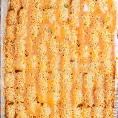 top down view of tater tot casserole out from the oven