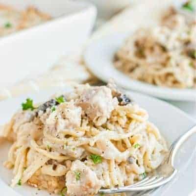 plate of chicken tetrazzini