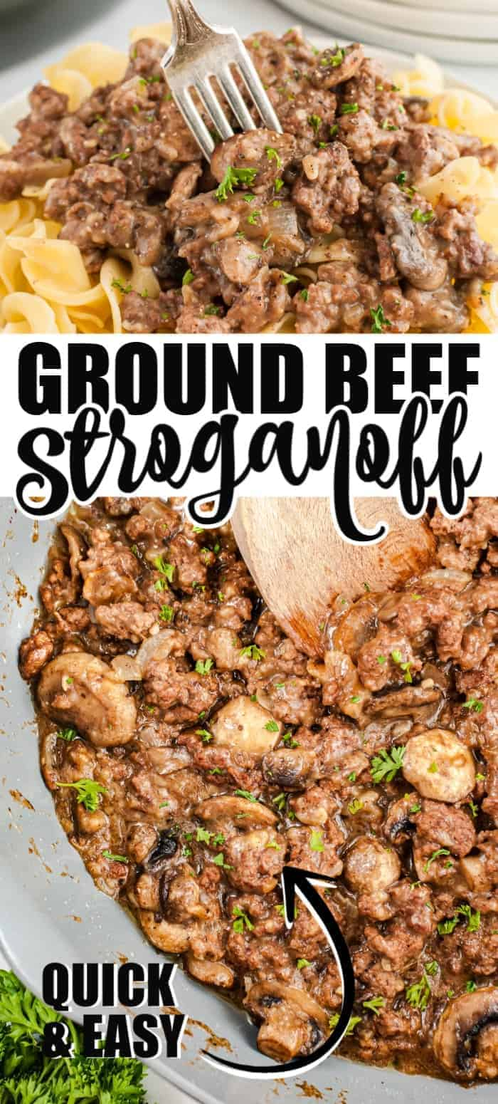 Ground beef stroganoff is comfort classic as it combines butter, onion, and mushrooms with a lean ground beef and an irresistible creamy sauce. This incredibly easy dish is served on top of egg noodles and ready in under 30 minutes.
