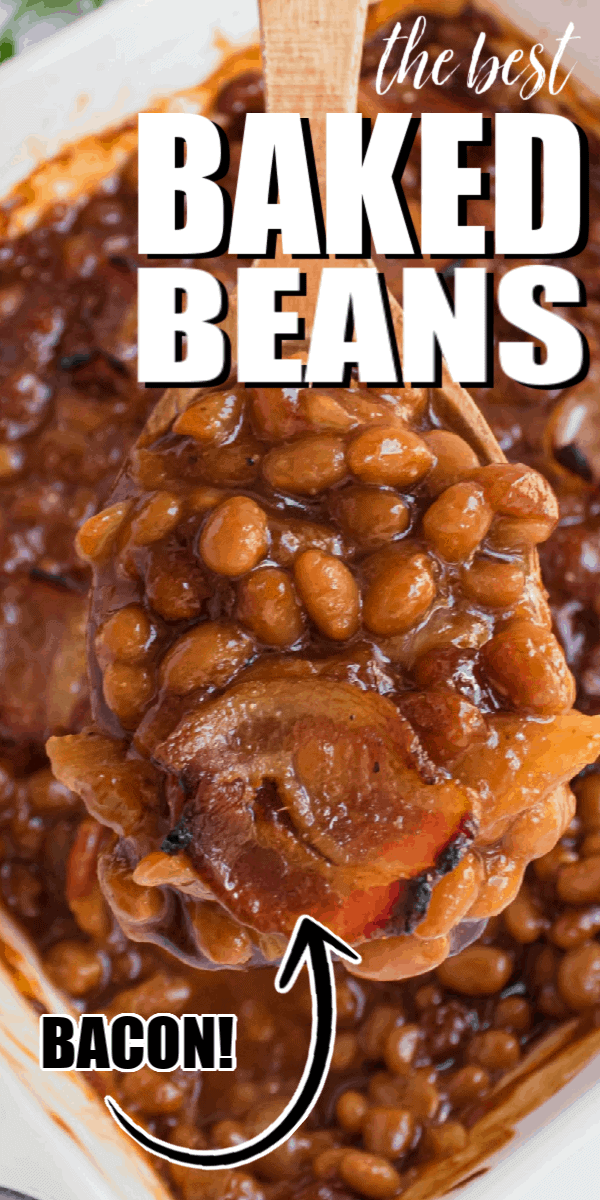 Baked beans are a summer and BBQ staple and this version is packed with great flavor, sweetened with brown sugar, and topped with bacon!