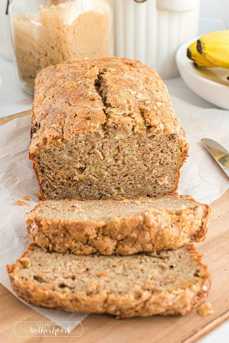 sliced banana bread