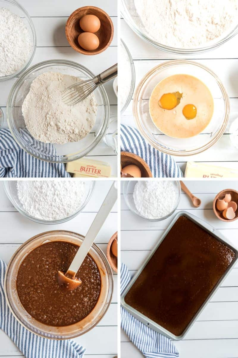 steps to make Texas sheet cake. Flour, eggs, and a bowl of chocolate