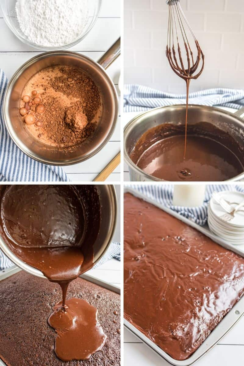 steps to make chocolate frosting: in pan, then pouring onto cake