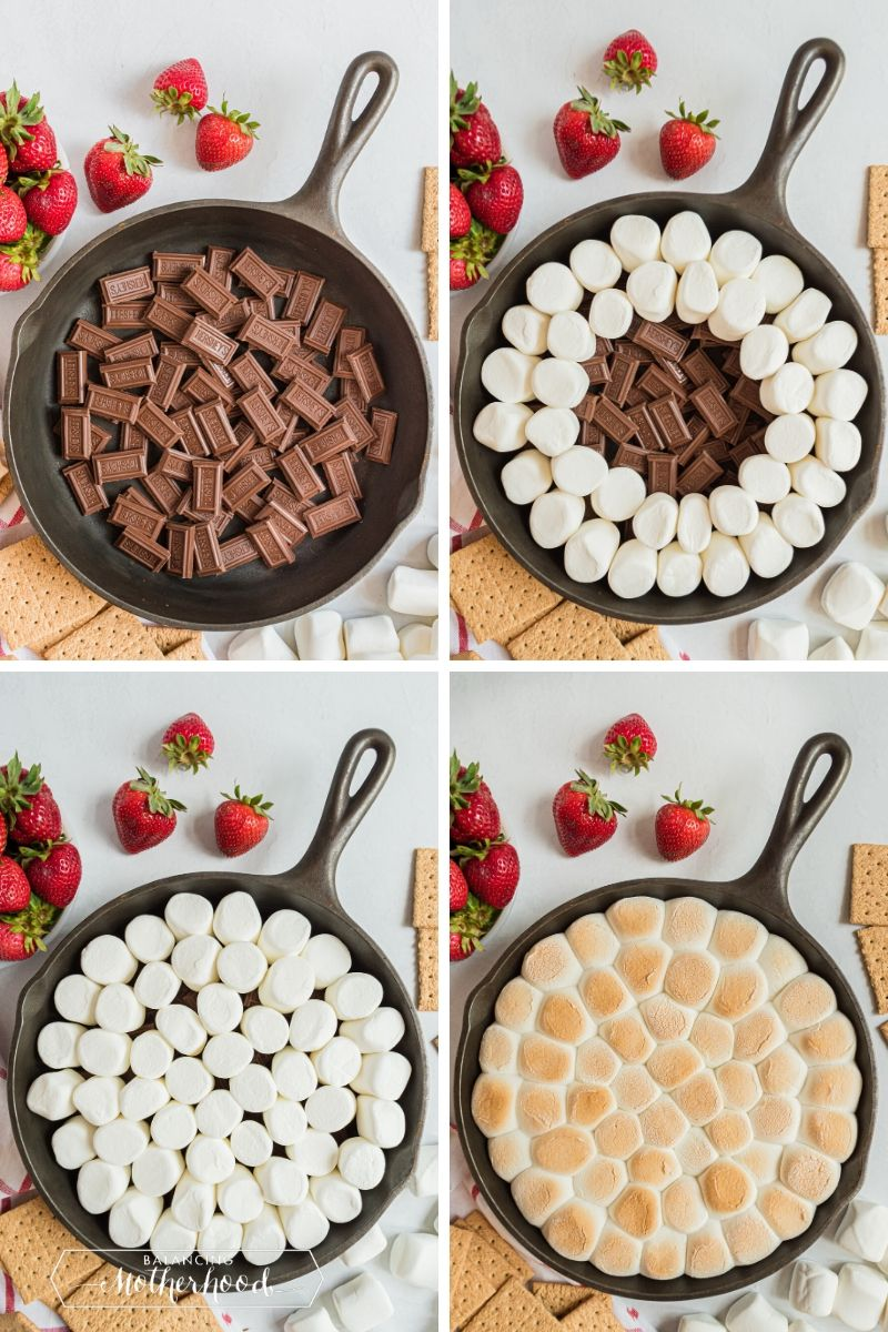 four stages to make smores dip: layered chocolate, then marshmallows on top