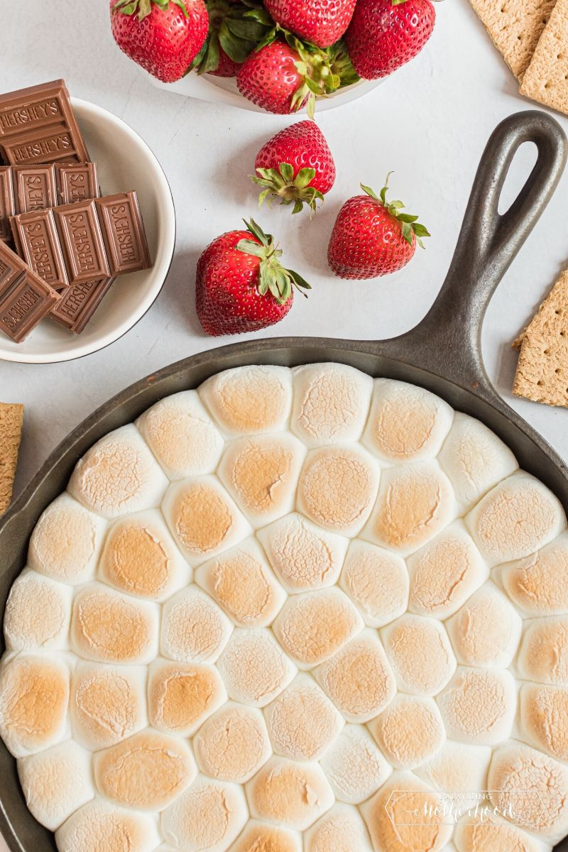 finished s'mores dip with chocolate, strawberries, and graham crackers