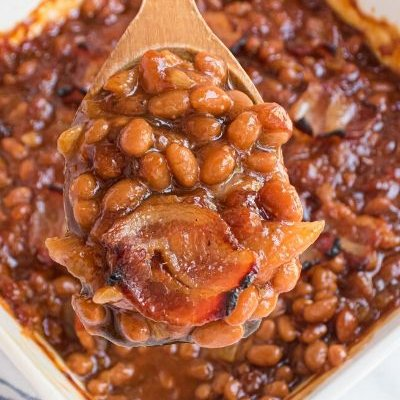 spoon with baked beans