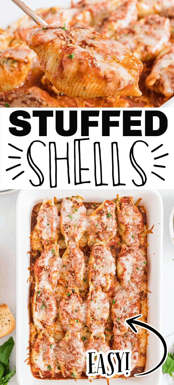 Stuffed shells are a delicious dinner any night of the week. The jumbo pasta shells are packed with creamy ricotta cheese and spinach filling, topped with a tomato sauce and melted mozzarella cheese.
