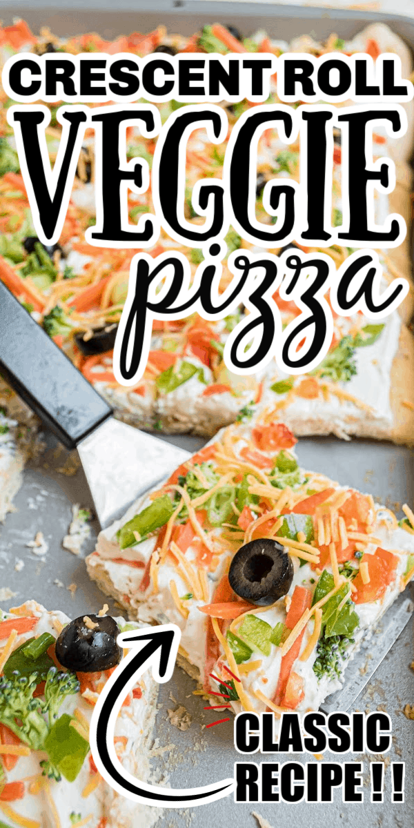 Crescent roll veggie pizza is a great appetizer or potluck item to serve to family and friends. The crescent roll crust is topped with a creamy mixture of cream cheese, mayonnaise, sour cream, and a ranch dressing mix. Then topped with cheddar cheese, and your favorite raw vegetables.