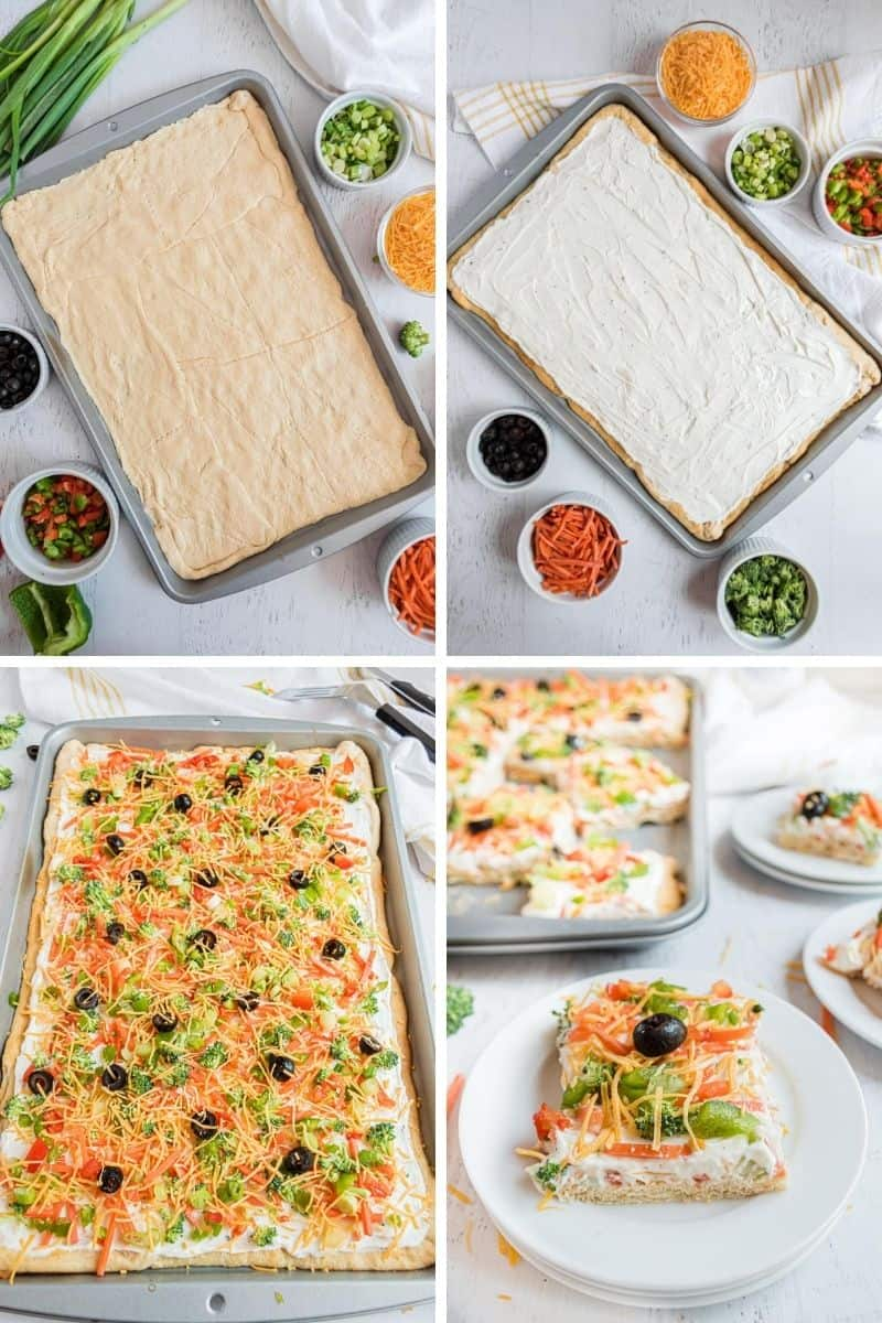 Steps to make this veggie pizza: roll out crescent dough, spread cream cheese mixture, top with veggies, slice.