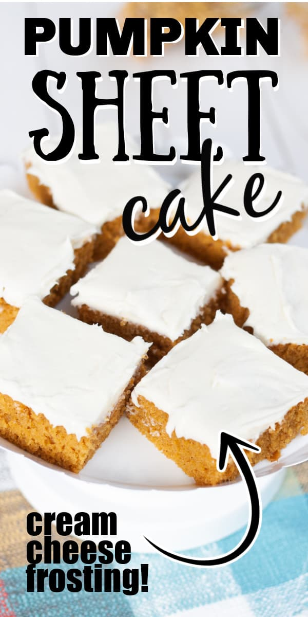 Pumpkin sheet cake is a cinnamon-spiced pumpkin cake topped with a rich cream cheese frosting made in a sheet pan in under 30 minutes.