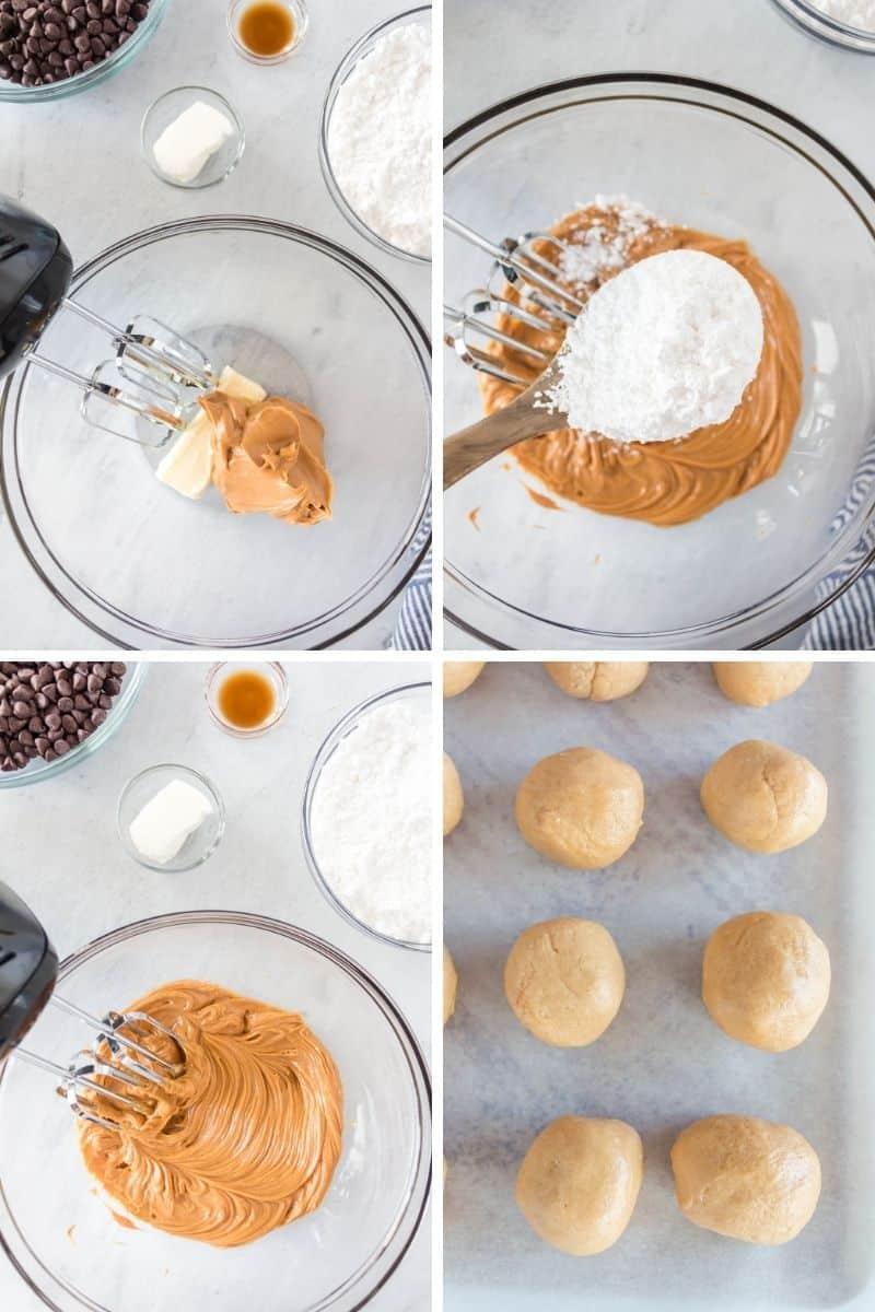 four steps to make peanut butter balls