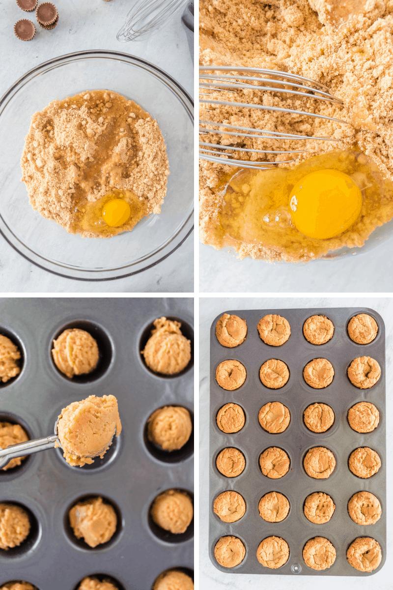 make peanut butter dough, put in mini muffin tin, bake