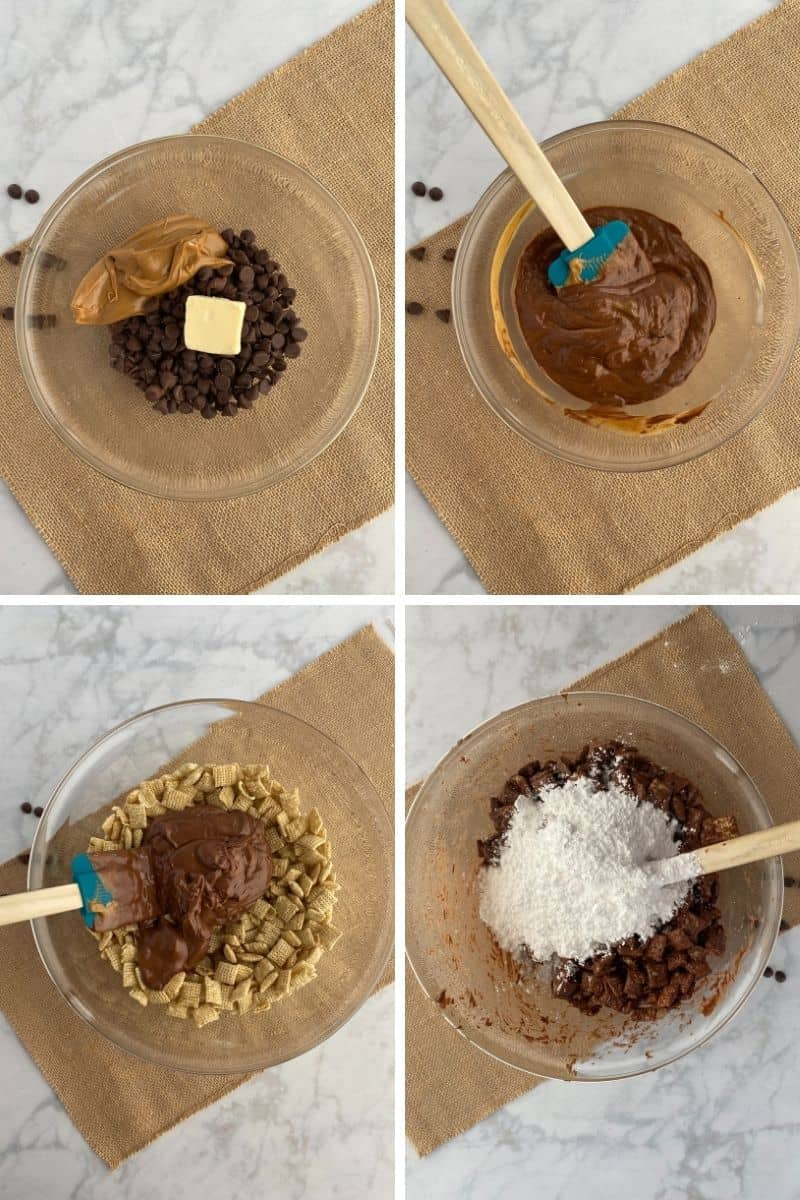 steps to make puppy chow: mix