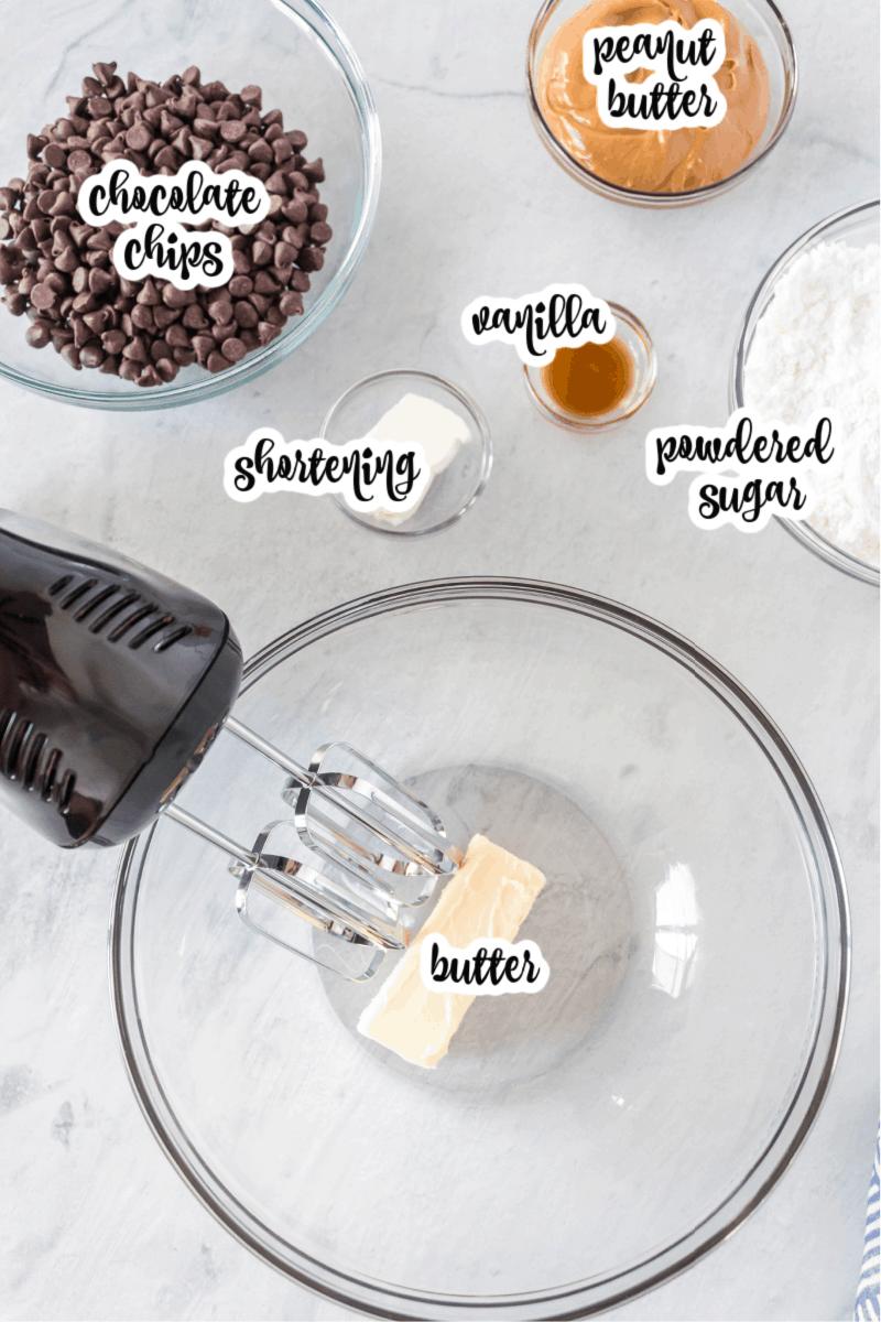peanut butter balls ingredients: peanut butter, butter, powdered sugar, vanilla, shortening, chocolate chips