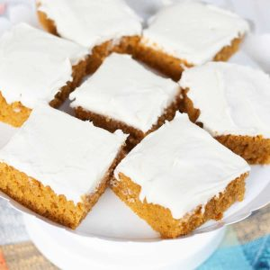 pumpkin cake cut into squares