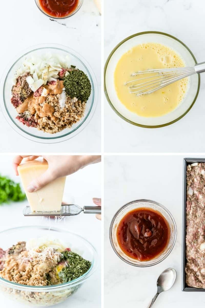 Steps to make meatloaf: Mix ingredients in bowl, mix milk and eggs, add parmesan cheese, add glaze