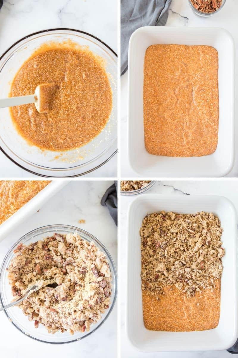steps to make casserole: sweet potato mixture on bottom of dish, stir topping, add topping