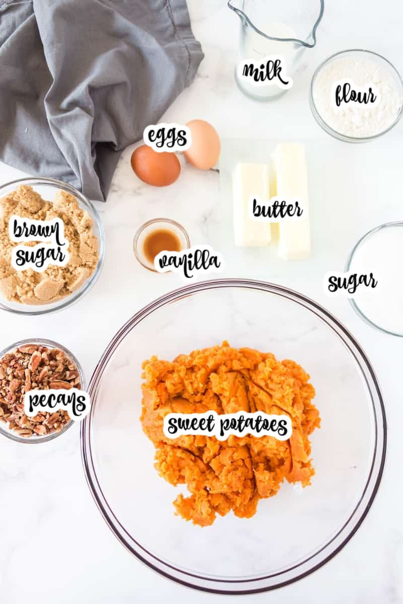 ingredients: sweet potatoes, sugar, eggs, vanilla, milk, butter, brown sugar, flour, butter, pecans