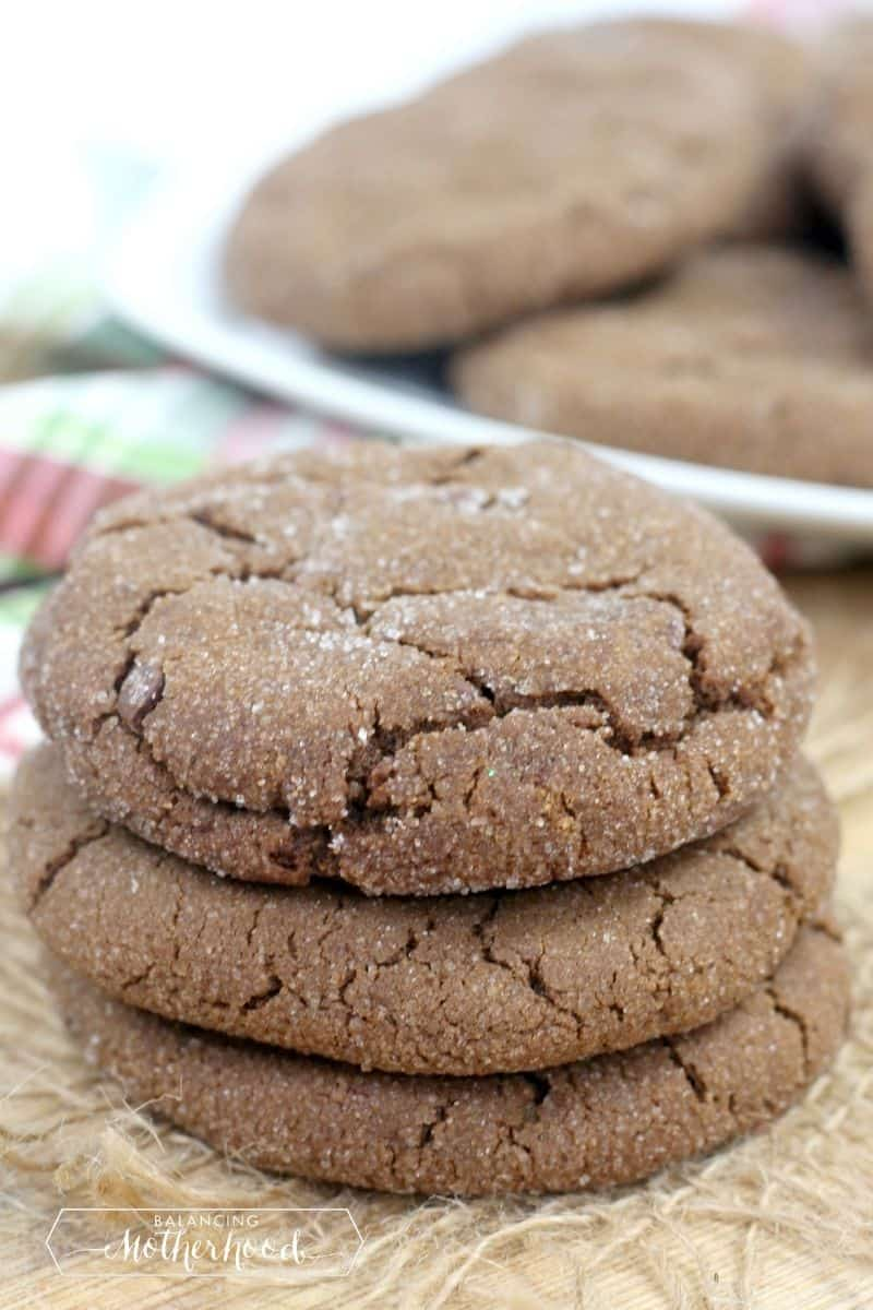 stack of chocolate gingersnap cookies showing the cracks in the cookies