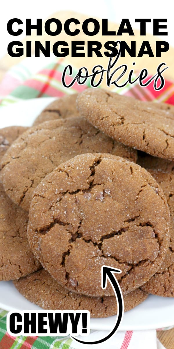 Chewy chocolate gingersnap cookies are a variation of the traditional gingerbread-flavored crispy Christmas cookie. This chewy version uses brown sugar, molasses, gingerbread seasonings, and chocolate to bring out an amazing chocolate gingerbread flavor.