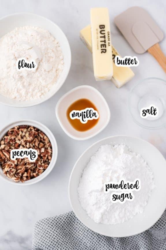 ingredients: butter, powdered sugar, vanilla, flour, salt, pecans