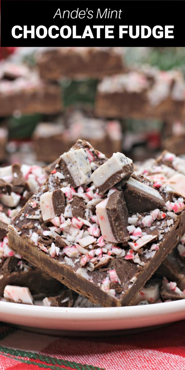 Andes mint fudge is a rich, creamy chocolate fudge with chunks of Andres cookie and peppermint bark on top!